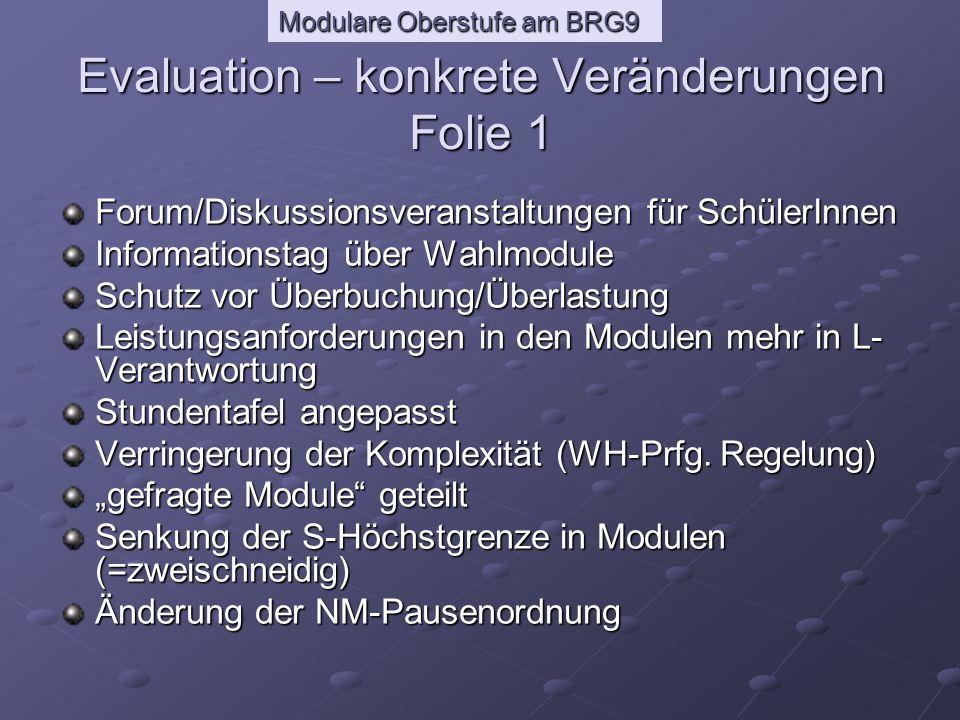 Modulare Oberstufe am BRG9 Aufenthaltsmöglichkeiten für SchülerInnen Anpassung Kursbuch Wahlmodus geändert zeitl.
