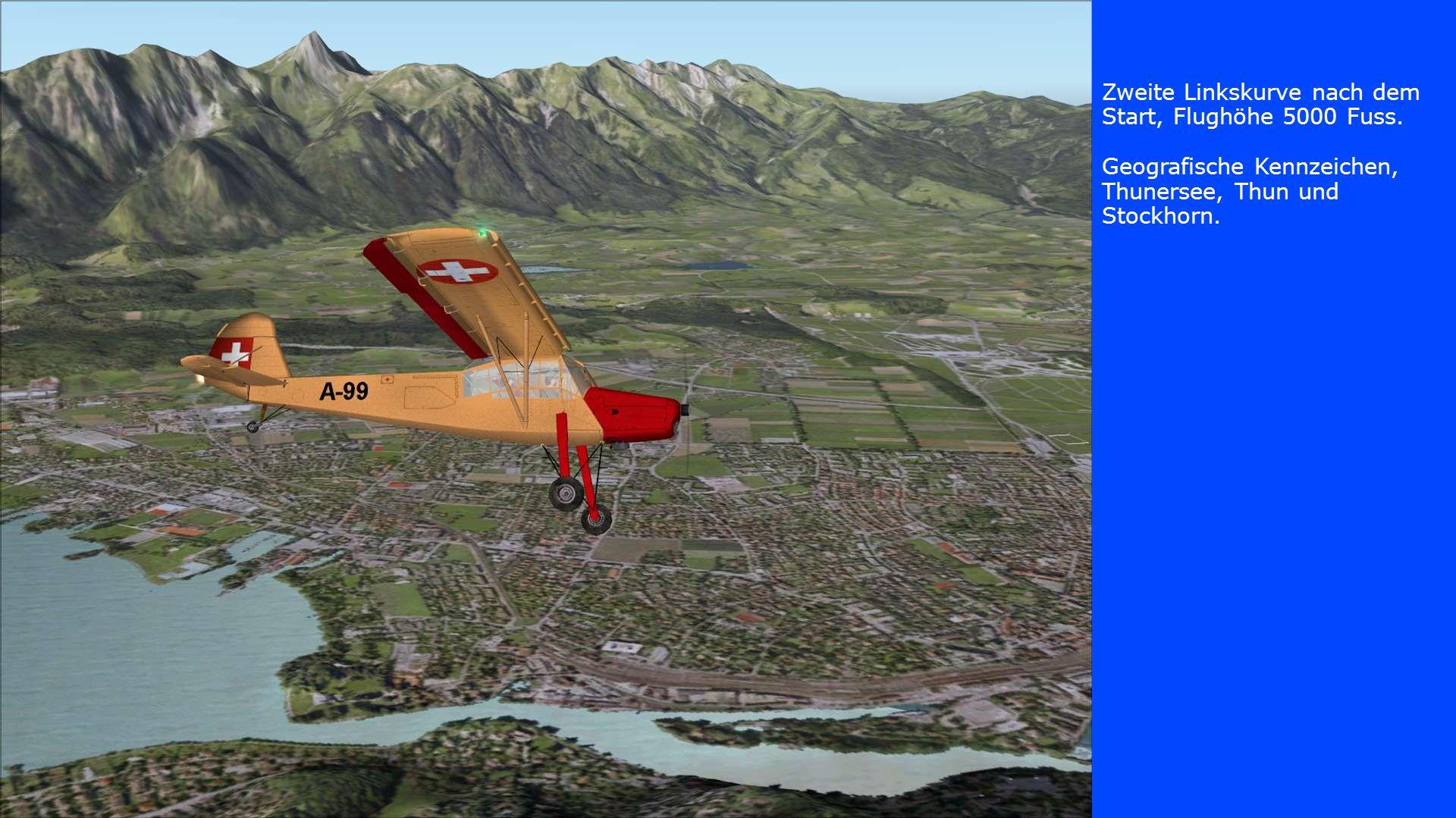 Zweite Linkskurve nach dem Start, Flughöhe 5000 Fuss. Geografische Kennzeichen, Thunersee, Thun und Stockhorn.