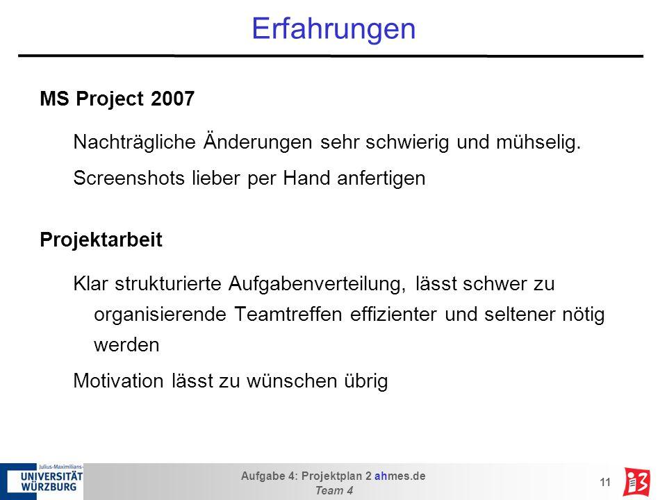 Aufgabe 4: Projektplan 2 ahmes.de Team 4 11 Erfahrungen MS Project 2007 Nachträgliche Änderungen sehr schwierig und mühselig.