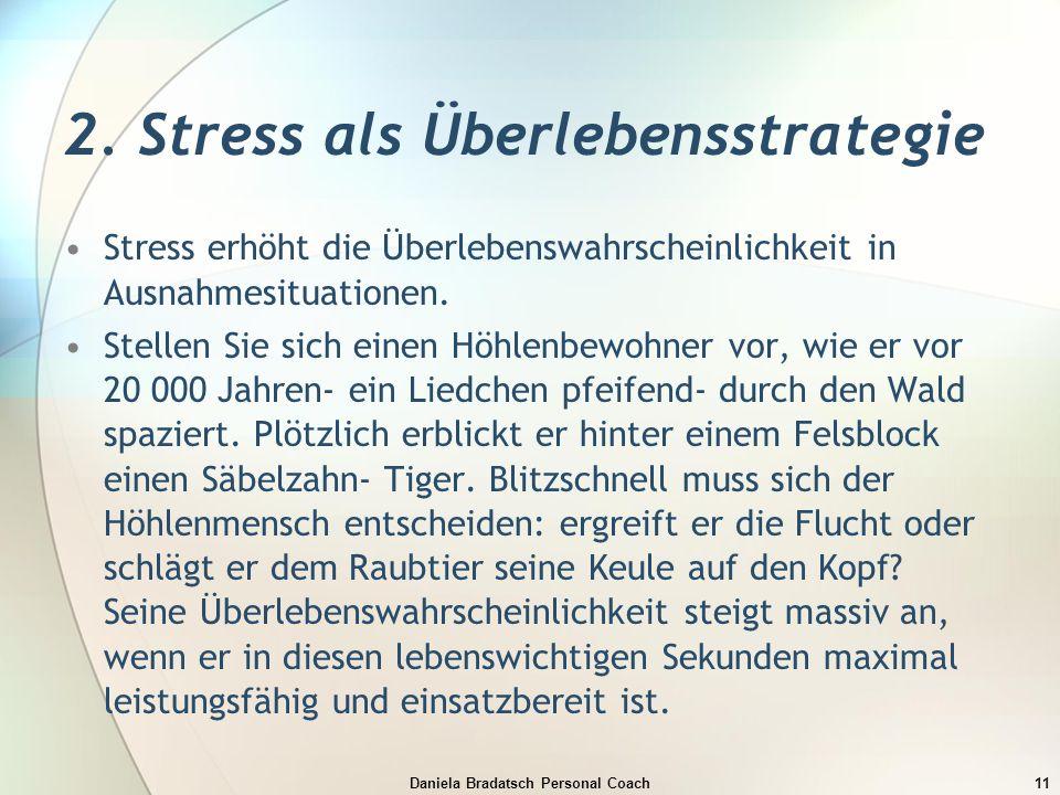 Daniela Bradatsch Personal Coach11 2. Stress als Überlebensstrategie Stress erhöht die Überlebenswahrscheinlichkeit in Ausnahmesituationen. Stellen Si