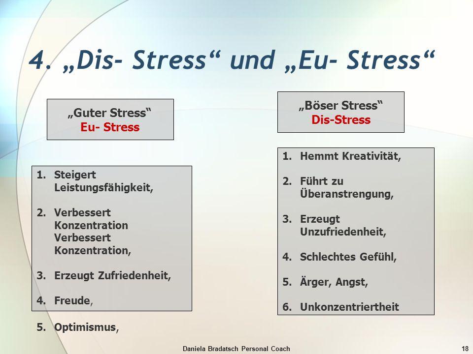 """Daniela Bradatsch Personal Coach18 4. """"Dis- Stress"""" und """"Eu- Stress"""" """"Guter Stress"""" Eu- Stress 1.Steigert Leistungsfähigkeit, 2.Verbessert Konzentrati"""