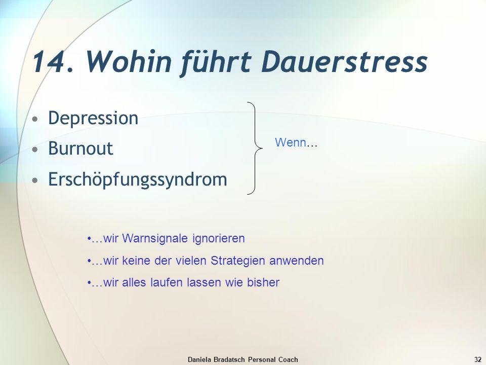 Daniela Bradatsch Personal Coach32 14. Wohin führt Dauerstress Depression Burnout Erschöpfungssyndrom Wenn… …wir Warnsignale ignorieren …wir keine der