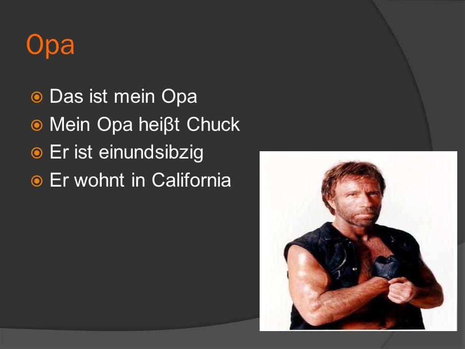 Opa  Das ist mein Opa  Mein Opa heiβt Chuck  Er ist einundsibzig  Er wohnt in California