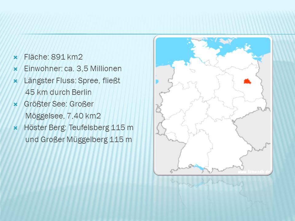  Fläche: 891 km2  Einwohner: ca. 3,5 Millionen  Längster Fluss: Spree, fließt 45 km durch Berlin  Größter See: Großer Möggelsee, 7,40 km2  Höster