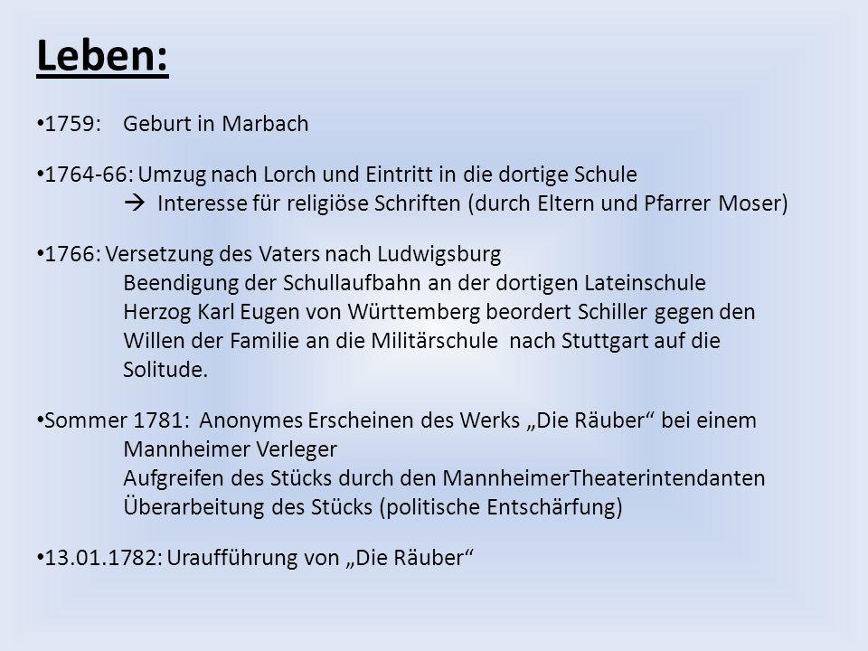 Leben: 1759: Geburt in Marbach 1764-66: Umzug nach Lorch und Eintritt in die dortige Schule  Interesse für religiöse Schriften (durch Eltern und Pfar