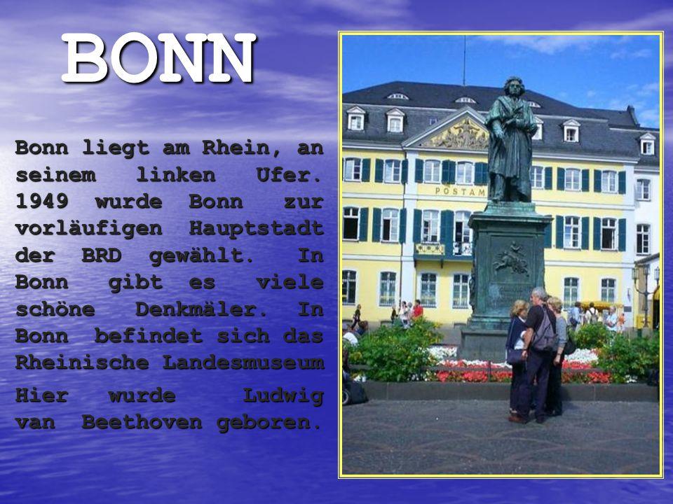 BONN Bonn liegt am Rhein, an seinem linken Ufer. 1949 wurde Bonn zur vorläufigen Hauptstadt der BRD gewählt. In Bonn gibt es viele schöne Denkmäler. I