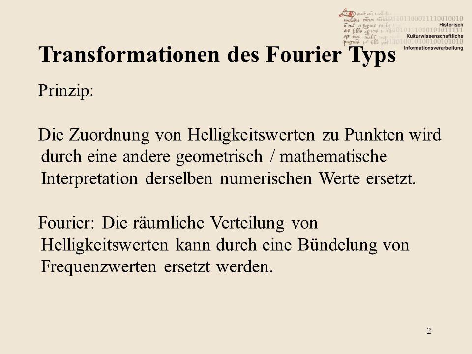 Transformationen des Fourier Typs 2 Prinzip: Die Zuordnung von Helligkeitswerten zu Punkten wird durch eine andere geometrisch / mathematische Interpretation derselben numerischen Werte ersetzt.