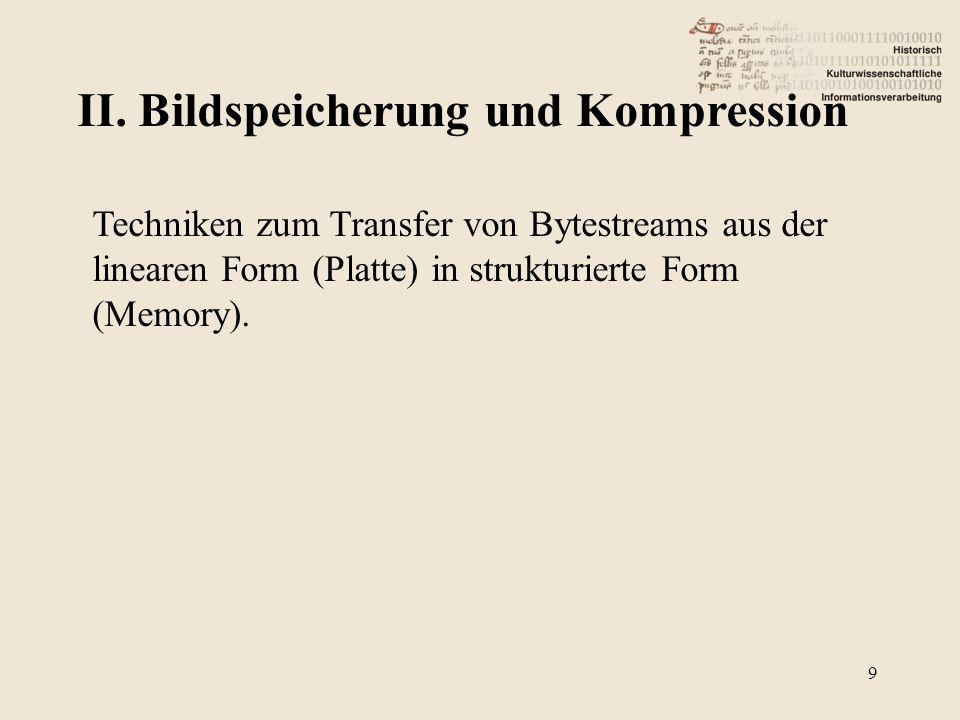 II. Bildspeicherung und Kompression 9 Techniken zum Transfer von Bytestreams aus der linearen Form (Platte) in strukturierte Form (Memory).