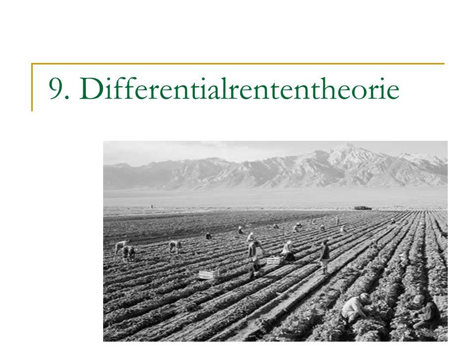 2 Differentialrententheorie: Intensive Rente Es gibt nur einen Bodentyp, von dem eine gegebene Menge vorhanden ist und zu dessen Bearbeitung n verschiedene Produktionsmethoden zur Verfügung stehen.