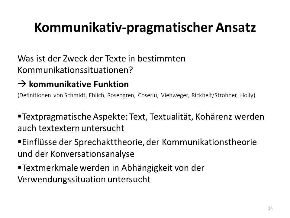 Kommunikativ-pragmatischer Ansatz Was ist der Zweck der Texte in bestimmten Kommunikationssituationen.