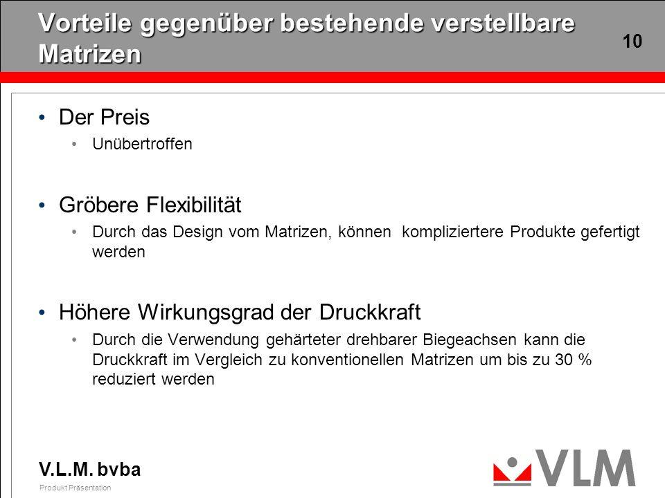 V.L.M. bvba Produkt Präsentation 10 Vorteile gegenüber bestehende verstellbare Matrizen Der Preis Unübertroffen Gröbere Flexibilität Durch das Design