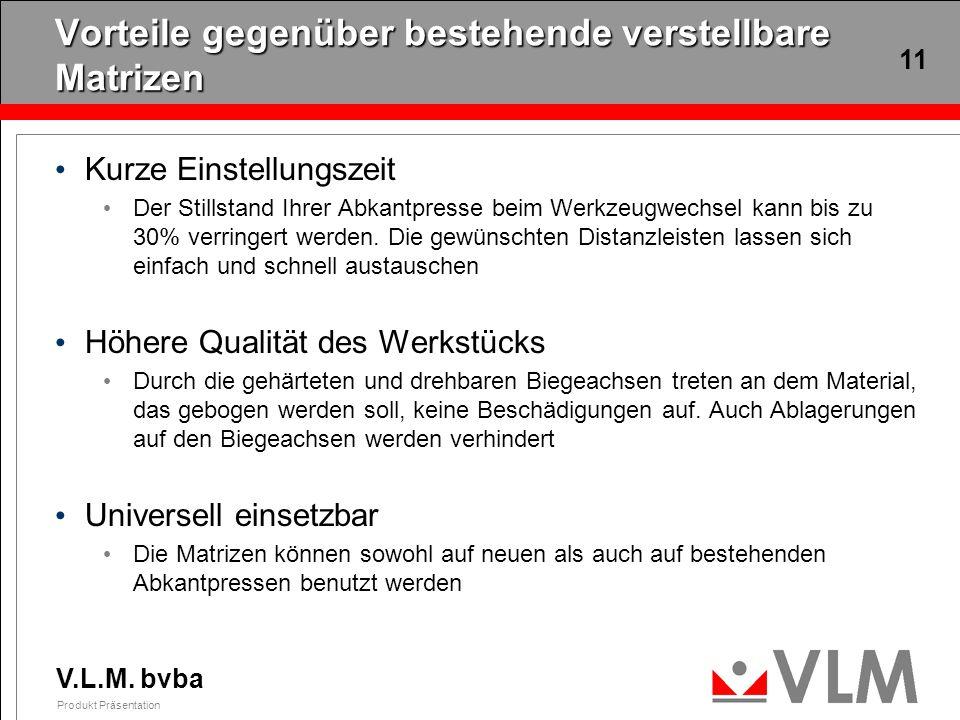 V.L.M. bvba Produkt Präsentation 11 Vorteile gegenüber bestehende verstellbare Matrizen Kurze Einstellungszeit Der Stillstand Ihrer Abkantpresse beim