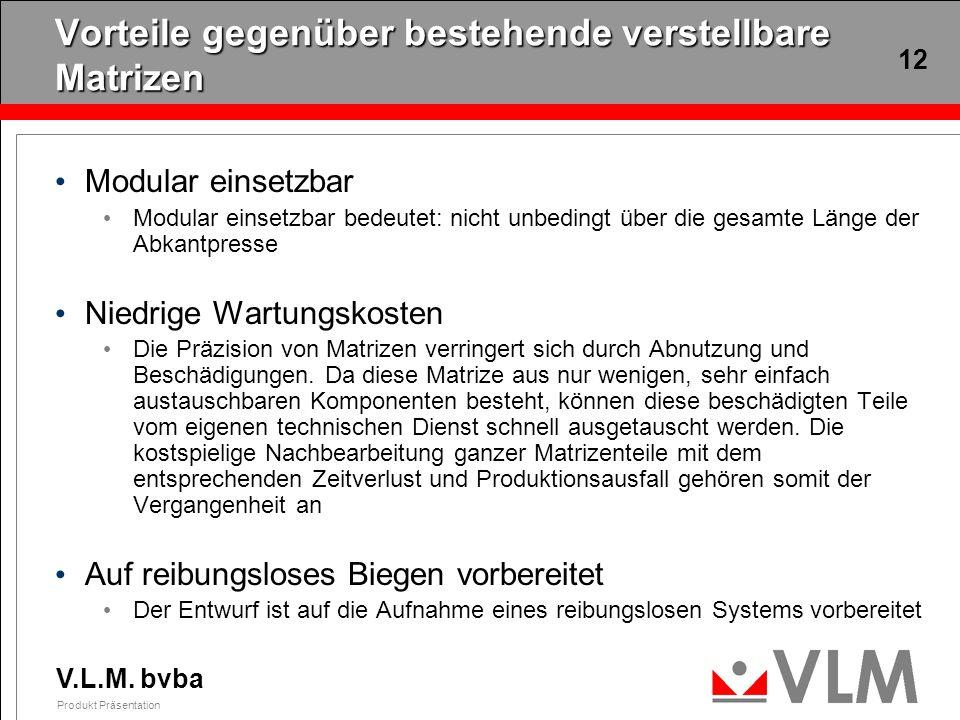 V.L.M. bvba Produkt Präsentation 12 Vorteile gegenüber bestehende verstellbare Matrizen Modular einsetzbar Modular einsetzbar bedeutet: nicht unbeding
