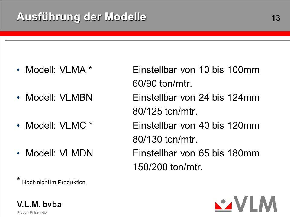 V.L.M. bvba Produkt Präsentation 13 Ausführung der Modelle Modell: VLMA *Einstellbar von 10 bis 100mm 60/90 ton/mtr. Modell: VLMBNEinstellbar von 24 b