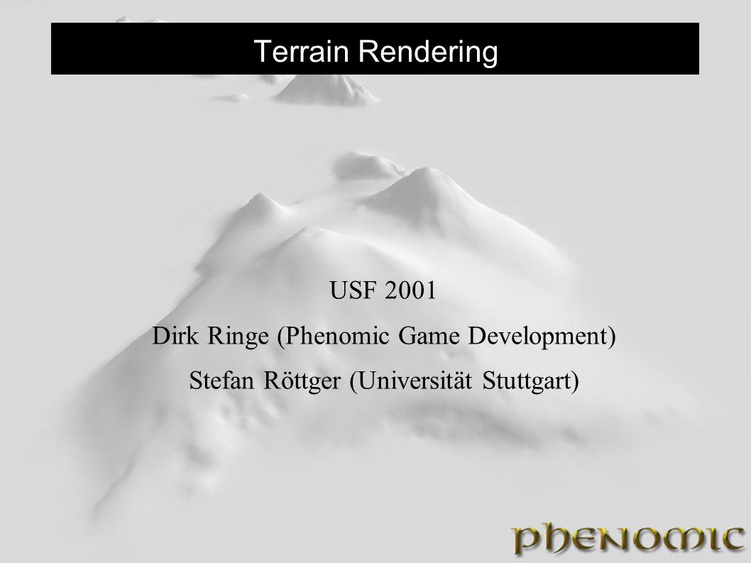 Texturierung 3 (Tiling) Jeder Terraintyp existiert als Textur Für jeden Terraintyp wird die entsprechende Geometrie erzeugt Bei den Übergängen können die Tiles mit dem Alphakanal ineinander gemischt werden Es dürfen keine Dreiecke zusammengefaßt werden.