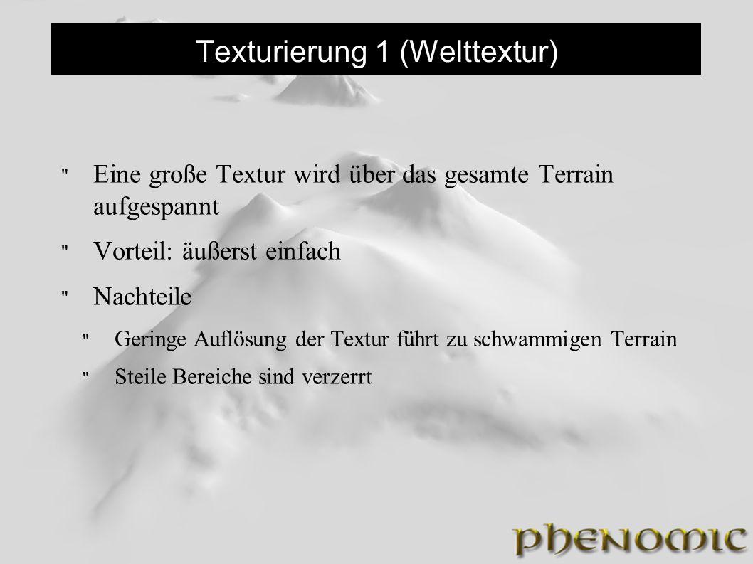 Texturierung 1 (Welttextur) Eine große Textur wird über das gesamte Terrain aufgespannt Vorteil: äußerst einfach Nachteile Geringe Auflösung der Textur führt zu schwammigen Terrain Steile Bereiche sind verzerrt