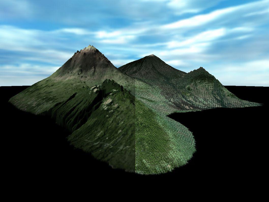Tesselierung 7 (CLOD ROAM 2) Split Only ROAM tesseliert die Landschaft jeden Frame neu.