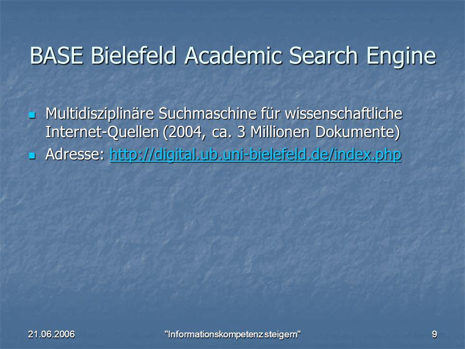 21.06.2006 Informationskompetenz steigern 10 Web of Science - SCI, SSCI, A&HCI Science Citation Index (ca.