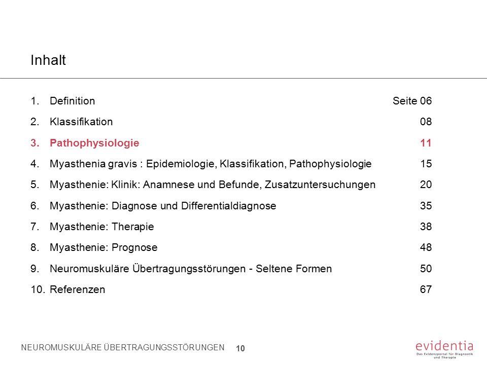 NEUROMUSKULÄRE ÜBERTRAGUNGSSTÖRUNGEN 10 Inhalt 1.Definition Seite 06 2.Klassifikation08 3.Pathophysiologie11 4.Myasthenia gravis : Epidemiologie, Klas