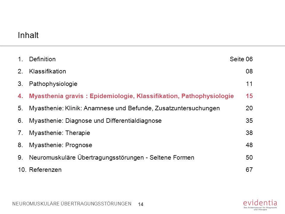 NEUROMUSKULÄRE ÜBERTRAGUNGSSTÖRUNGEN 14 Inhalt 1.Definition Seite 06 2.Klassifikation08 3.Pathophysiologie11 4.Myasthenia gravis : Epidemiologie, Klas
