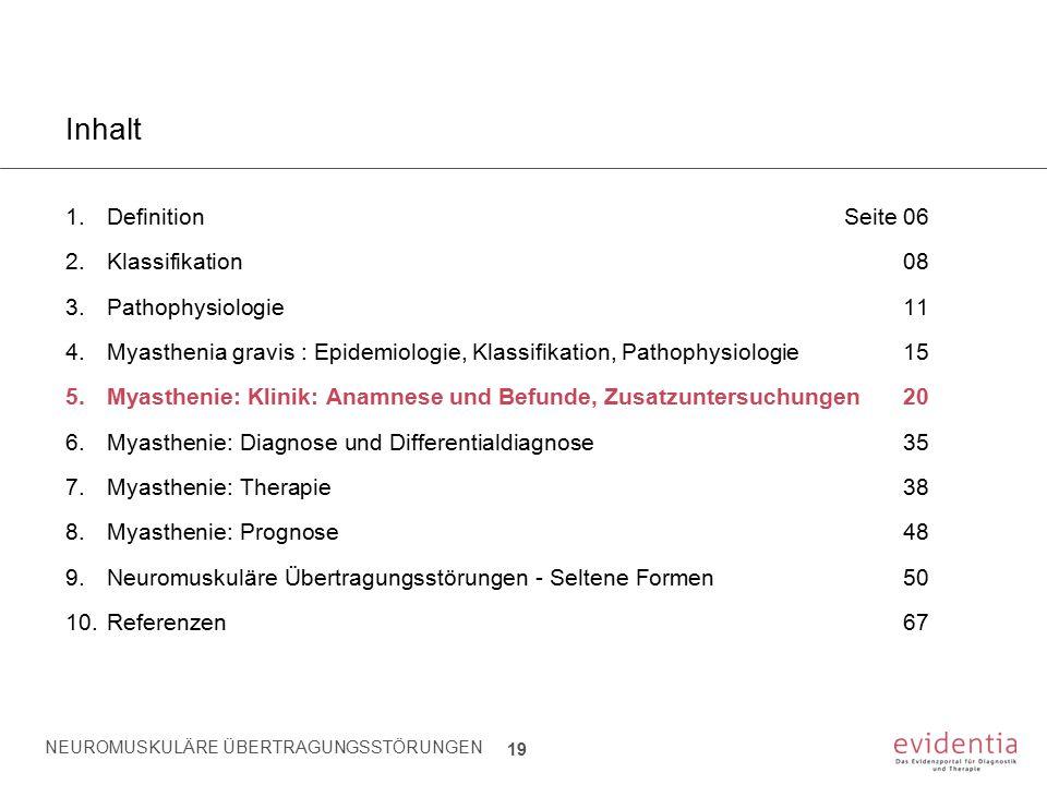 NEUROMUSKULÄRE ÜBERTRAGUNGSSTÖRUNGEN 19 Inhalt 1.Definition Seite 06 2.Klassifikation08 3.Pathophysiologie11 4.Myasthenia gravis : Epidemiologie, Klas