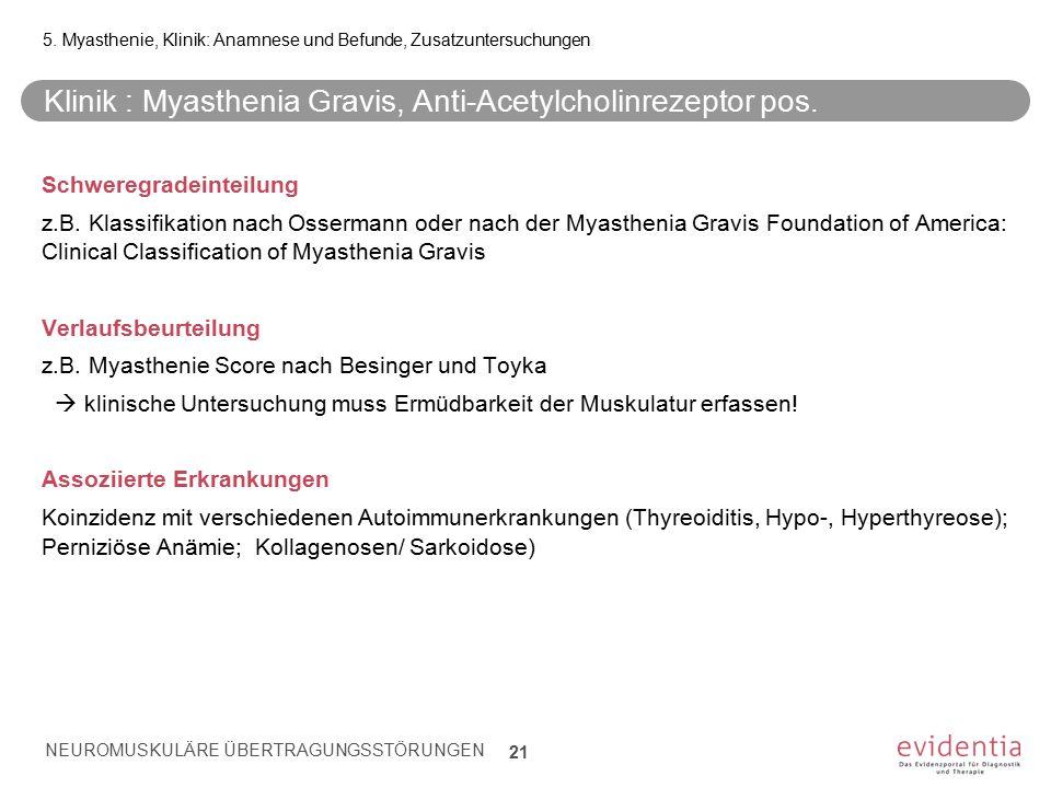 Klinik : Myasthenia Gravis, Anti-Acetylcholinrezeptor pos. Schweregradeinteilung z.B. Klassifikation nach Ossermann oder nach der Myasthenia Gravis Fo