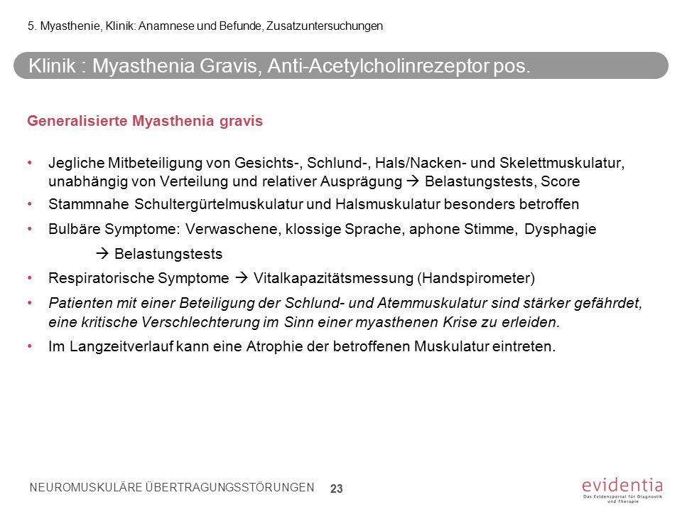 Klinik : Myasthenia Gravis, Anti-Acetylcholinrezeptor pos. Generalisierte Myasthenia gravis Jegliche Mitbeteiligung von Gesichts-, Schlund-, Hals/Nack