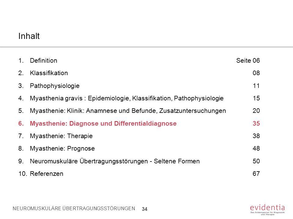 NEUROMUSKULÄRE ÜBERTRAGUNGSSTÖRUNGEN 34 Inhalt 1.Definition Seite 06 2.Klassifikation08 3.Pathophysiologie11 4.Myasthenia gravis : Epidemiologie, Klas