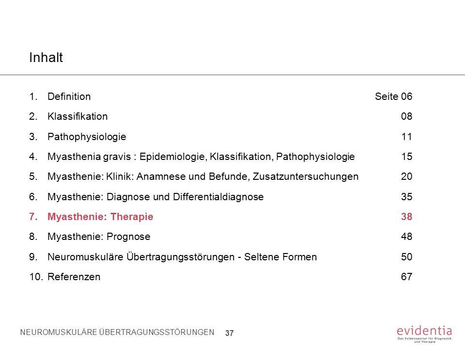 NEUROMUSKULÄRE ÜBERTRAGUNGSSTÖRUNGEN 37 Inhalt 1.Definition Seite 06 2.Klassifikation08 3.Pathophysiologie11 4.Myasthenia gravis : Epidemiologie, Klas