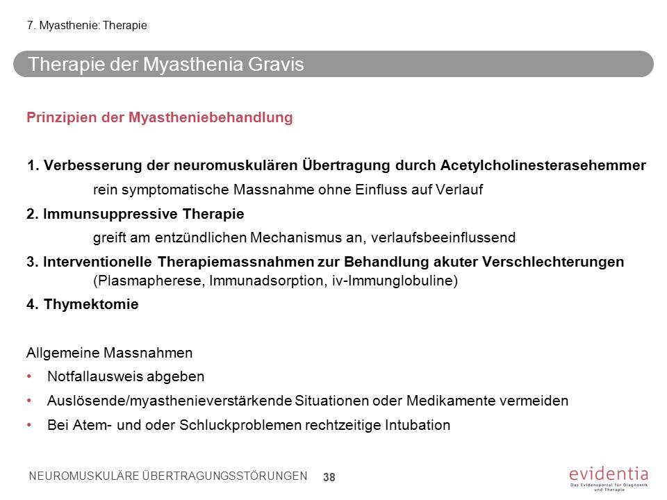 Therapie der Myasthenia Gravis Prinzipien der Myastheniebehandlung 1. Verbesserung der neuromuskulären Übertragung durch Acetylcholinesterasehemmer re