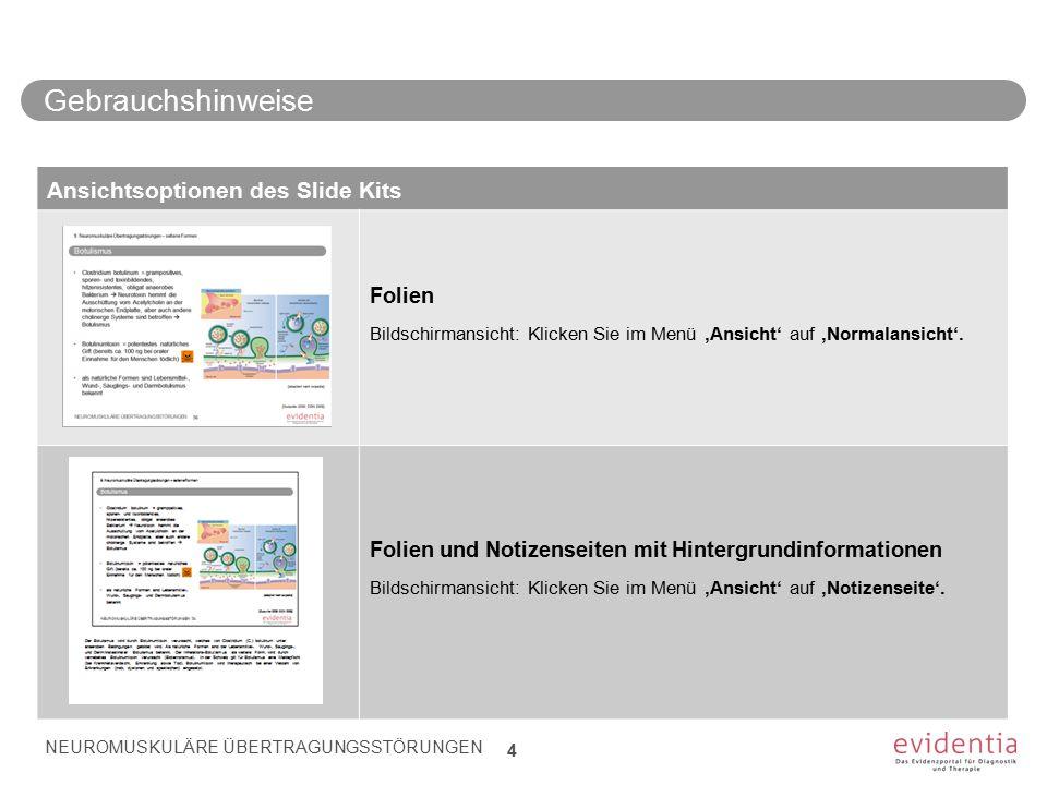 Differentialdiagnose Myasthenia gravis (Auswahl)/1 NEUROMUSKULÄRE ÜBERTRAGUNGSSTÖRUNGEN 35 6.
