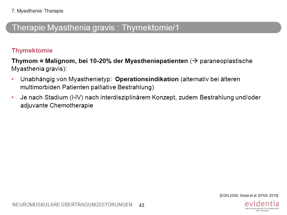 Therapie Myasthenia gravis : Thymektomie/1 Thymektomie Thymom = Malignom, bei 10-20% der Myastheniepatienten (  paraneoplastische Myasthenia gravis):