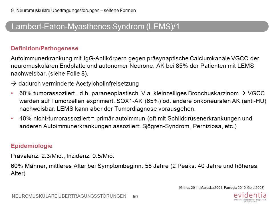 Lambert-Eaton-Myasthenes Syndrom (LEMS)/1 Definition/Pathogenese Autoimmunerkrankung mit IgG-Antikörpern gegen präsynaptische Calciumkanäle VGCC der n