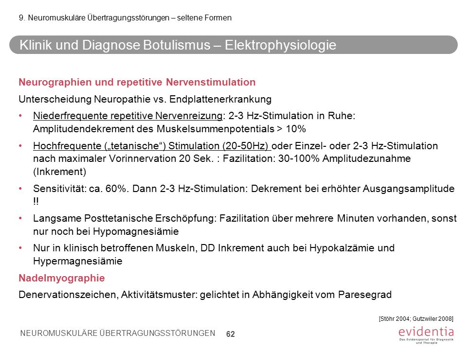 Klinik und Diagnose Botulismus – Elektrophysiologie Neurographien und repetitive Nervenstimulation Unterscheidung Neuropathie vs.