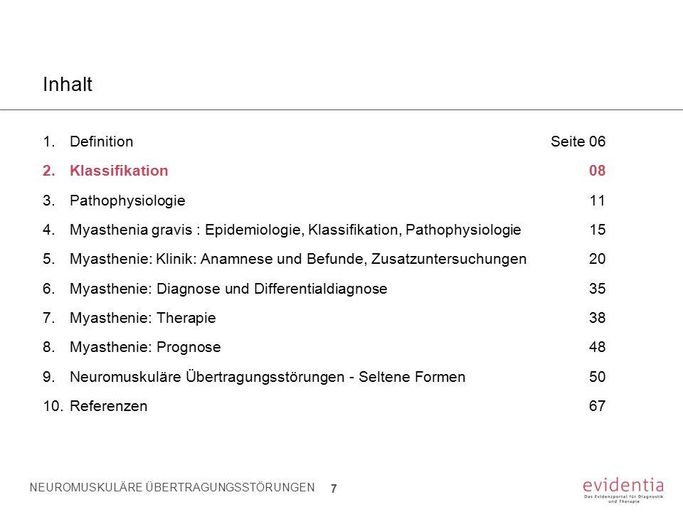 NEUROMUSKULÄRE ÜBERTRAGUNGSSTÖRUNGEN 7 Inhalt 1.Definition Seite 06 2.Klassifikation08 3.Pathophysiologie11 4.Myasthenia gravis : Epidemiologie, Klass