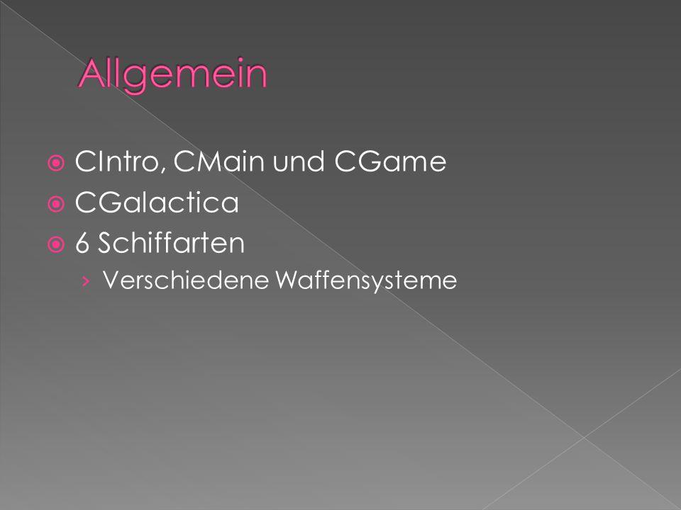  CIntro, CMain und CGame  CGalactica  6 Schiffarten › Verschiedene Waffensysteme