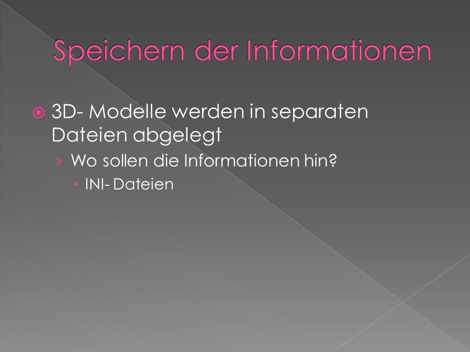  3D- Modelle werden in separaten Dateien abgelegt › Wo sollen die Informationen hin?  INI- Dateien