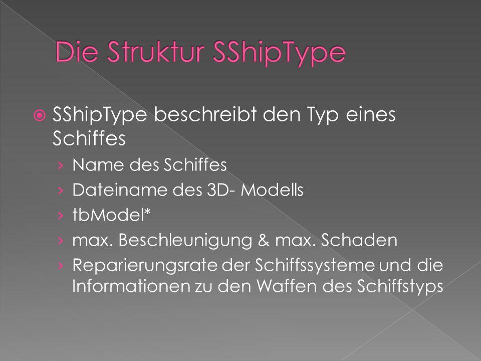 struct SShipType { char acName[256]; // Name des Schiffstyps char acDesc[1024]; // Beschreibungstext char acModel[256]; // Name der Modelldatei tbModel* pModel; // Modell des Schiffstyps float fMass; // Masse float fMovementFriction; // Reibung bei der Bewegung float fRotationFriction; // Reibung bei der Rotation float fMaxHullDamage; // Schadenskapazität der Hülle float fHullRepairRate; // Reparierungsrate der Hülle float fMaxAccel; // Maximale Beschleunigung float fMaxAngularAccel; // Maximale Drehbeschleunigung float fMaxEngineDamage; // Schadenskapazität des Antriebs float fEngineRepairRate; // Reparierungsrate des Antriebs tbVector3 vEnginePos; // Relative Position des Antriebs float fMaxShieldEnergy; // Maximale Schildenergie float fMaxShieldReloadRate; // Wiederaufladrate float fMaxShieldDamage; // Schadenskapazität des Schildgenerators float fShieldRepairRate; // Reparierungsrate des Schildgenerators tbVector3 vShieldPos; // Rel.