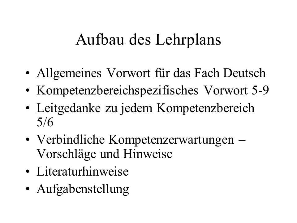 Aufbau des Lehrplans Allgemeines Vorwort für das Fach Deutsch Kompetenzbereichspezifisches Vorwort 5-9 Leitgedanke zu jedem Kompetenzbereich 5/6 Verbi