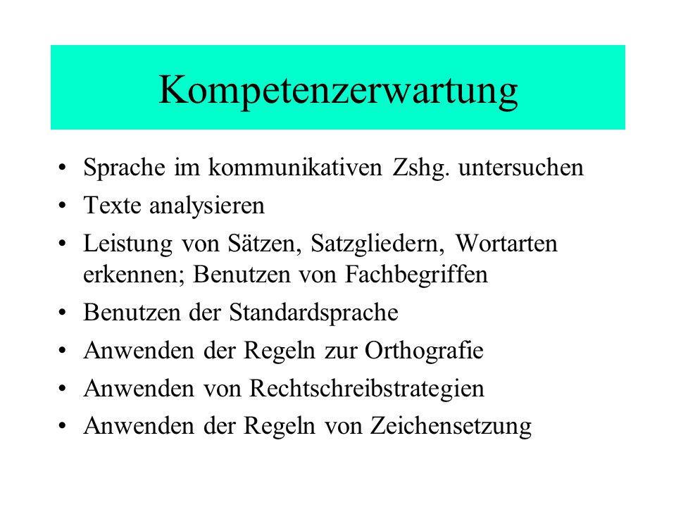 Kompetenzerwartung Sprache im kommunikativen Zshg. untersuchen Texte analysieren Leistung von Sätzen, Satzgliedern, Wortarten erkennen; Benutzen von F