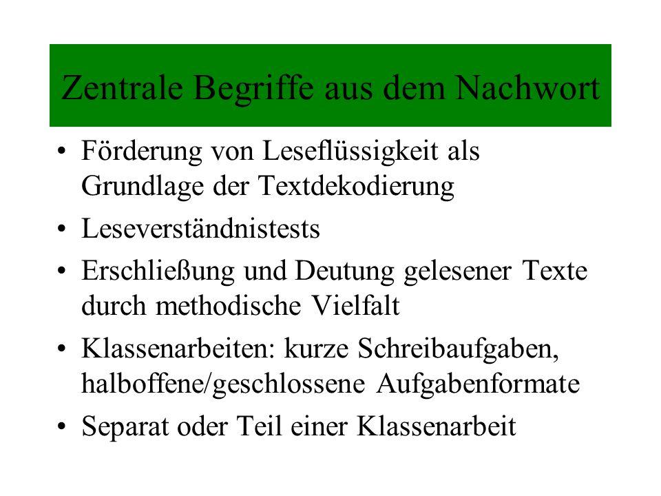 Zentrale Begriffe aus dem Nachwort Förderung von Leseflüssigkeit als Grundlage der Textdekodierung Leseverständnistests Erschließung und Deutung geles