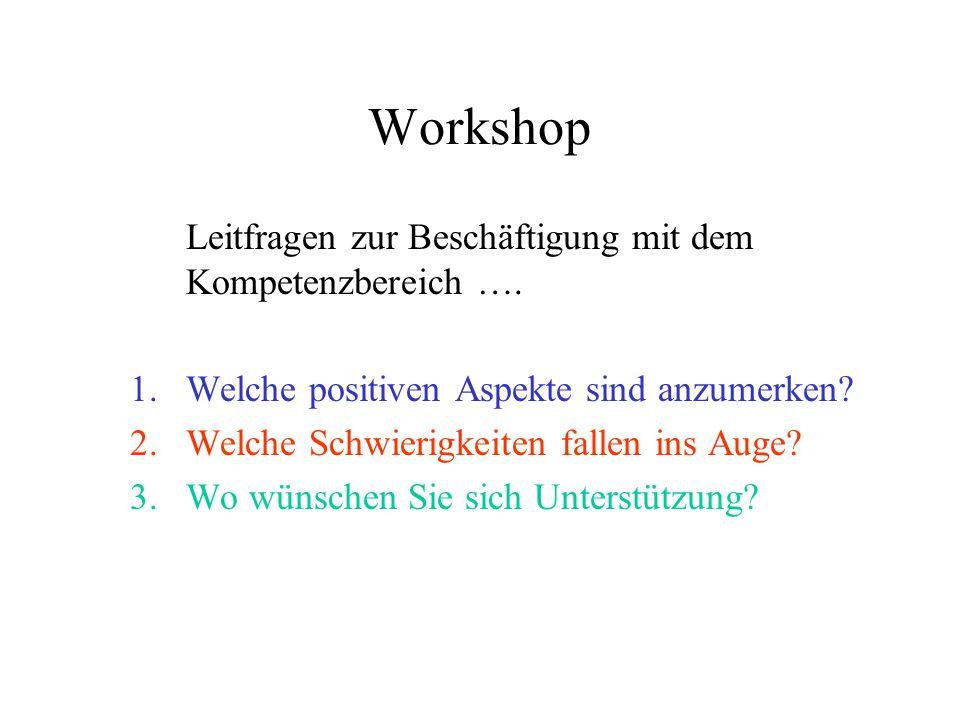Workshop Leitfragen zur Beschäftigung mit dem Kompetenzbereich …. 1.Welche positiven Aspekte sind anzumerken? 2.Welche Schwierigkeiten fallen ins Auge