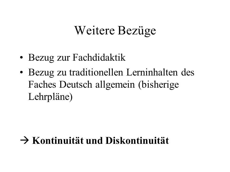 Weitere Bezüge Bezug zur Fachdidaktik Bezug zu traditionellen Lerninhalten des Faches Deutsch allgemein (bisherige Lehrpläne)  Kontinuität und Diskon