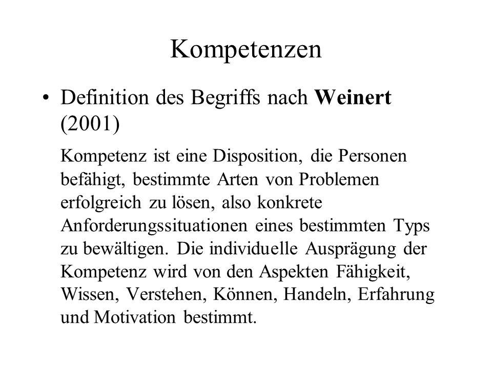 Kompetenzen Definition des Begriffs nach Weinert (2001) Kompetenz ist eine Disposition, die Personen befähigt, bestimmte Arten von Problemen erfolgrei