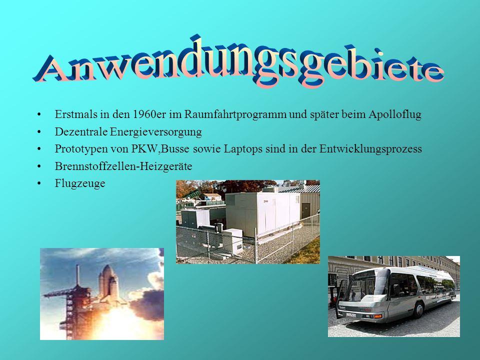 Erstmals in den 1960er im Raumfahrtprogramm und später beim Apolloflug Dezentrale Energieversorgung Prototypen von PKW,Busse sowie Laptops sind in der Entwicklungsprozess Brennstoffzellen-Heizgeräte Flugzeuge