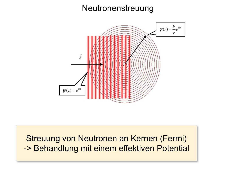 Fermi: Einführen eines Pseudopotentials Ersetze tiefes Kernpotential mit Reichweite R -> flaches Pseudopotential mit Reichweite ρ >> R Störungsrechnung (1.
