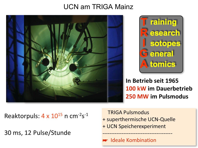 In Betrieb seit 1965 100 kW im Dauerbetrieb 250 MW im Pulsmodus Reaktorpuls: 4 x 10 15 n cm -2 s -1 30 ms, 12 Pulse/Stunde TRIGA Pulsmodus + superther