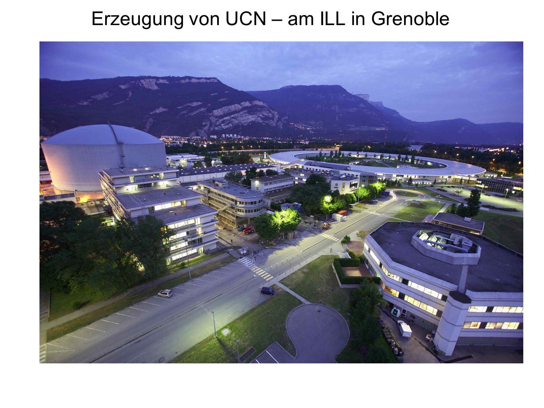 UCNA – Messung des Koeffizienten A mit UCN Trick: starkes Magnetfeld polarisiert Neutronen, lässt Elektronen auf Spiralbahnen gyrieren.