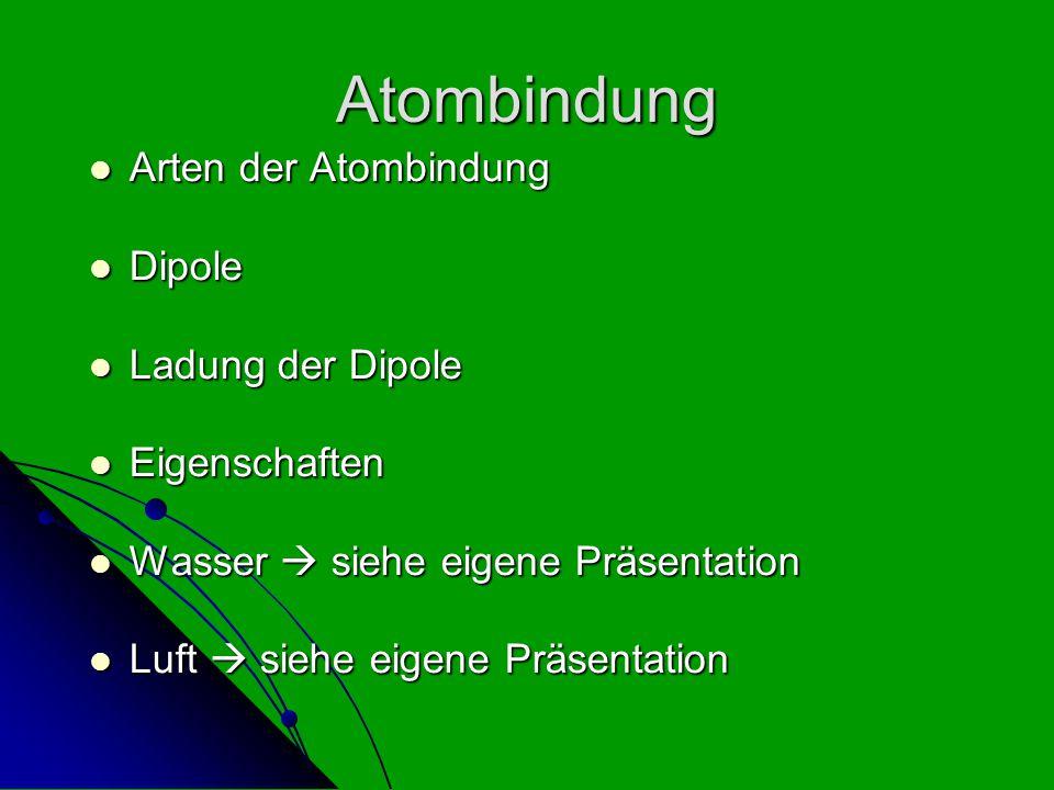 Atombindung Arten der Atombindung Arten der Atombindung Dipole Dipole Ladung der Dipole Ladung der Dipole Eigenschaften Eigenschaften Wasser  siehe e