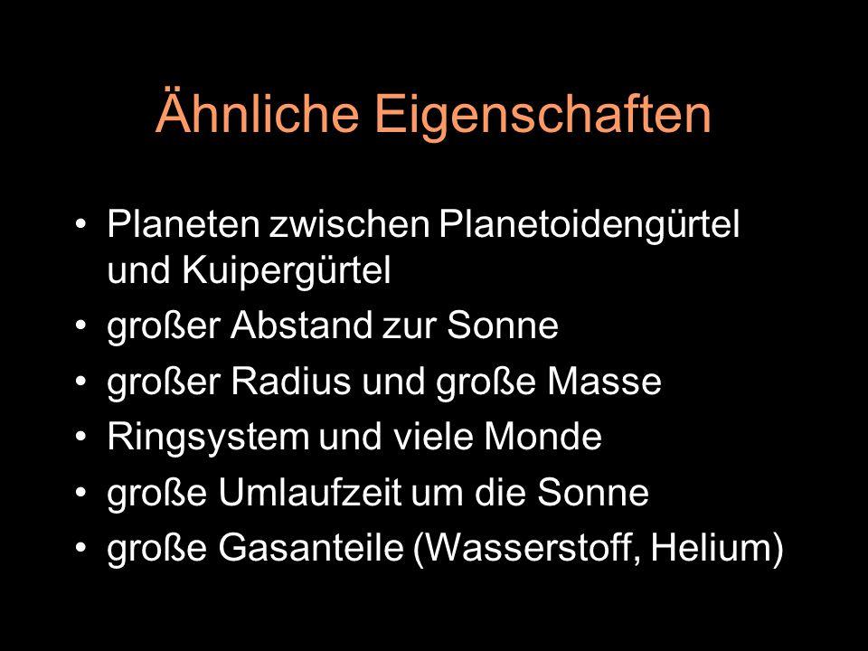 Ähnliche Eigenschaften Planeten zwischen Planetoidengürtel und Kuipergürtel großer Abstand zur Sonne großer Radius und große Masse Ringsystem und viel